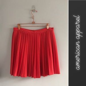 American Apparel Coral Pleated Skirt